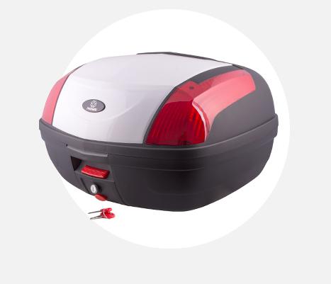 Kufer Moretti MR-889, biały, czerwony odblask