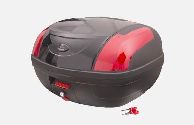 Kufer Moretti MR-889, 46 l., czarny połysk, czerwony odblask